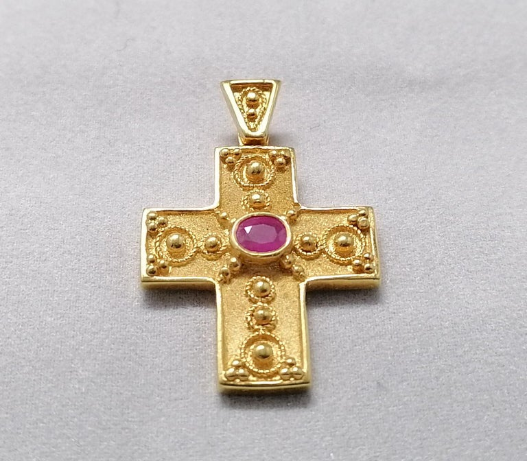 Georgios Collections 18 Karat Yellow Gold Ruby Granulated Cross Pendant For Sale 7