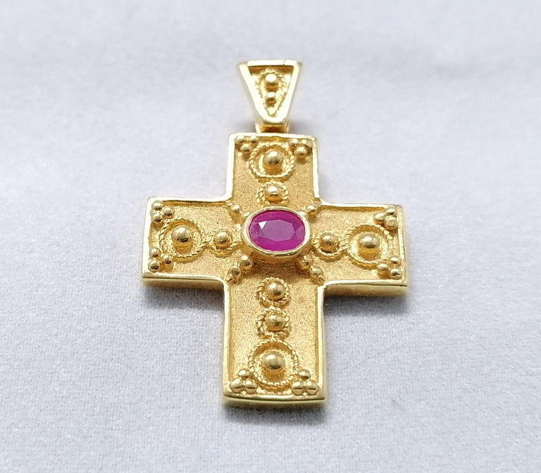 Byzantine Georgios Collections 18 Karat Yellow Gold Ruby Granulated Cross Pendant For Sale