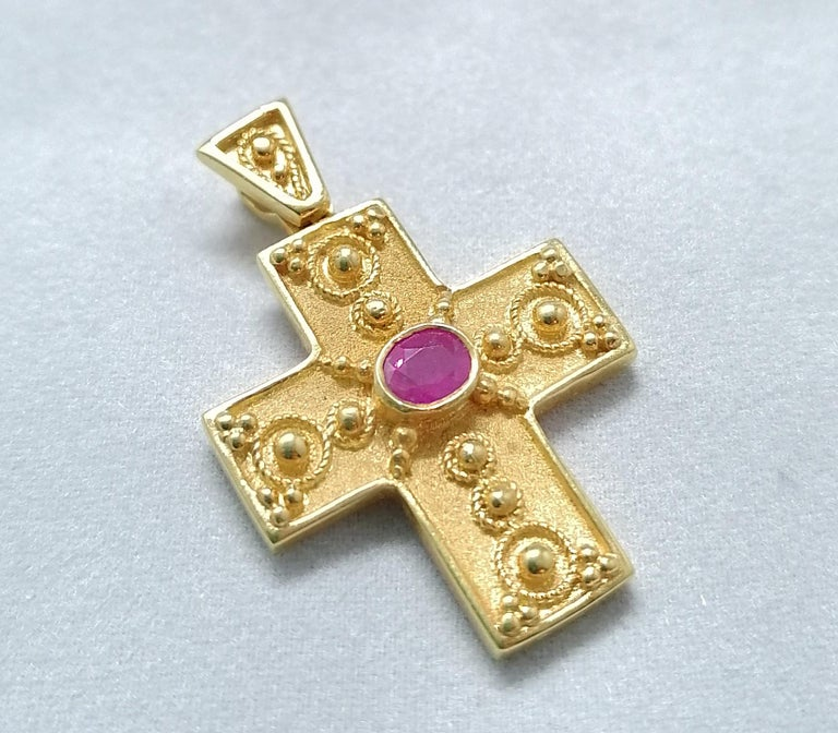 Georgios Collections 18 Karat Yellow Gold Ruby Granulated Cross Pendant In New Condition For Sale In Astoria, NY