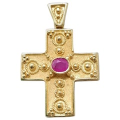 Georgios Collections 18 Karat Yellow Gold Ruby Granulated Cross Pendant