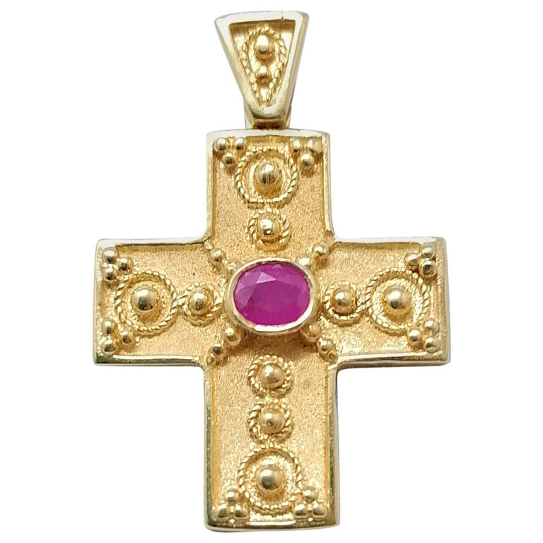 Georgios Collections 18 Karat Yellow Gold Ruby Granulated Cross Pendant For Sale