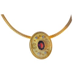 Georgios Collections 18 Karat Yellow Gold Ruby Pendant