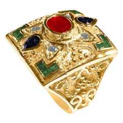 Georgios Collections 18 Karat Yellow Gold Ruby Emerald and Sapphires Wide Ring