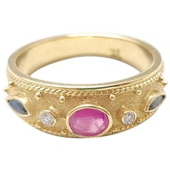 Georgios Collections 18 Karat Yellow Gold Ruby Sapphire and Diamond Band Ring