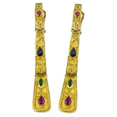 Georgios Collections 18 Karat Yellow Gold Ruby Sapphire Emerald Long Earrings