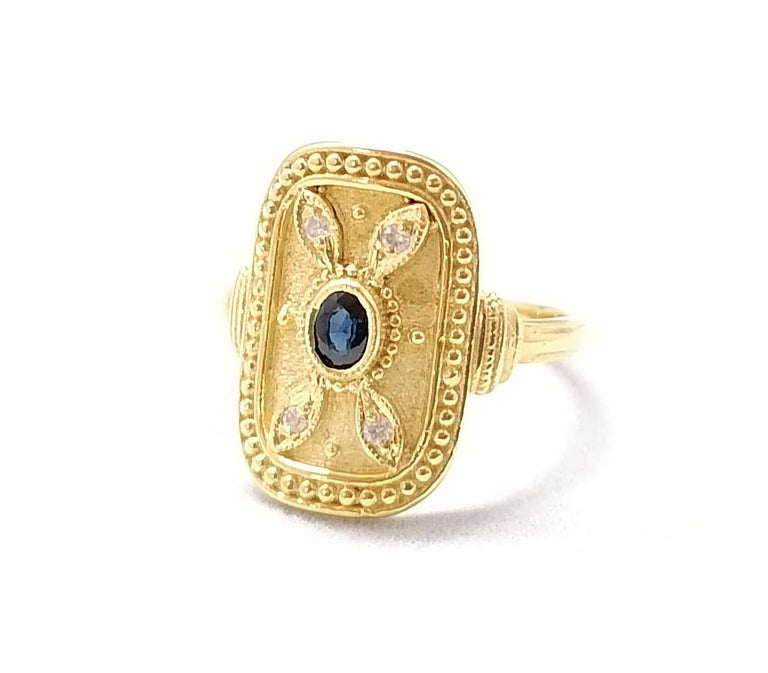 Georgios Collections 18 Karat Yellow Gold Sapphire and Diamond Byzantine Ring For Sale 6