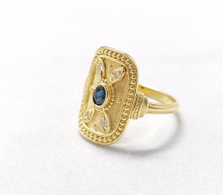 Georgios Collections 18 Karat Yellow Gold Sapphire and Diamond Byzantine Ring For Sale 7