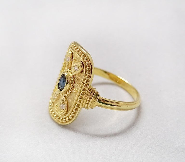 Georgios Collections 18 Karat Yellow Gold Sapphire and Diamond Byzantine Ring For Sale 8