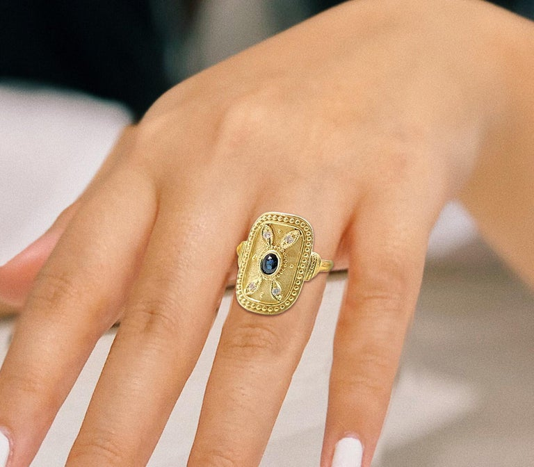 Georgios Collections 18 Karat Yellow Gold Sapphire and Diamond Byzantine Ring For Sale 11