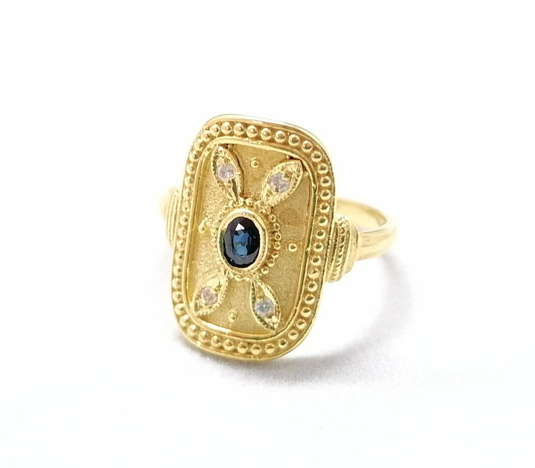 Georgios Collections 18 Karat Yellow Gold Sapphire and Diamond Byzantine Ring For Sale 12
