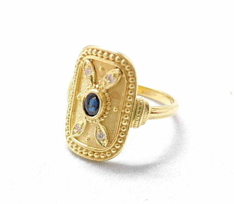 Oval Cut Georgios Collections 18 Karat Yellow Gold Sapphire and Diamond Byzantine Ring For Sale
