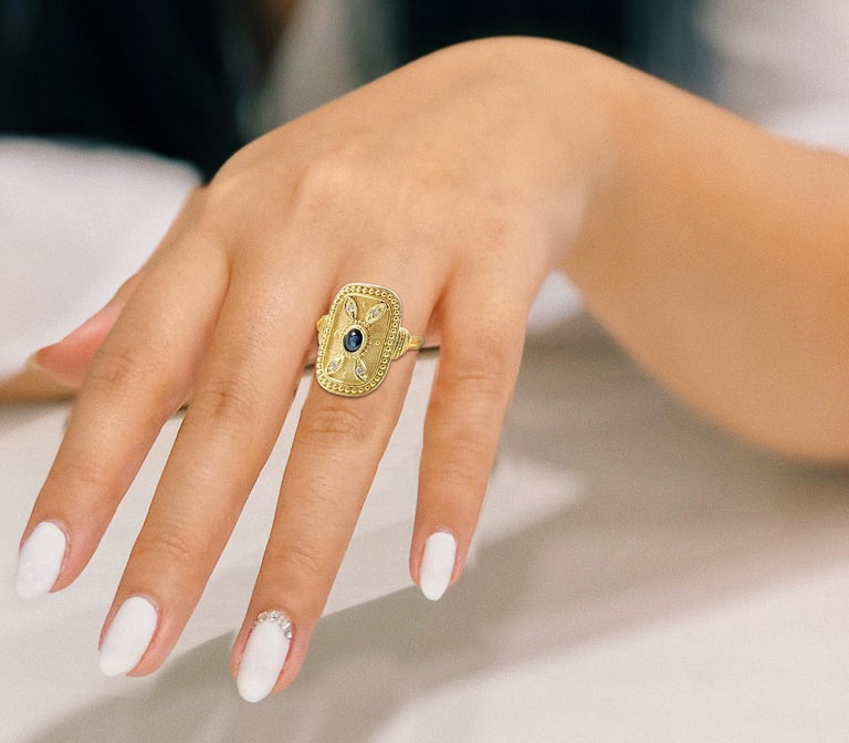 Women's Georgios Collections 18 Karat Yellow Gold Sapphire and Diamond Byzantine Ring For Sale