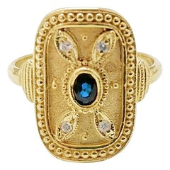 Georgios Collections 18 Karat Yellow Gold Sapphire and Diamond Byzantine Ring