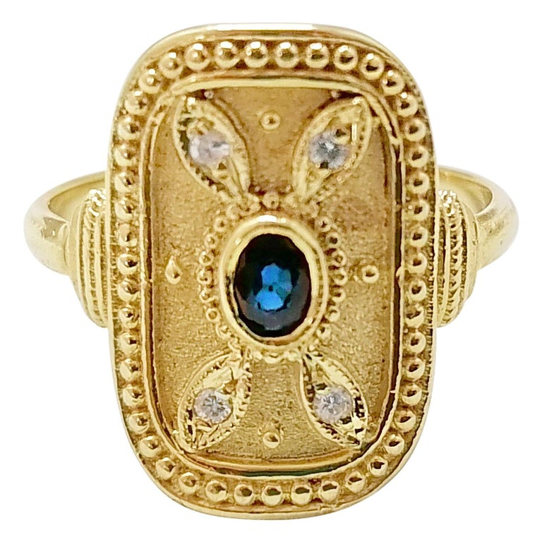Georgios Collections 18 Karat Yellow Gold Sapphire and Diamond Byzantine Ring For Sale