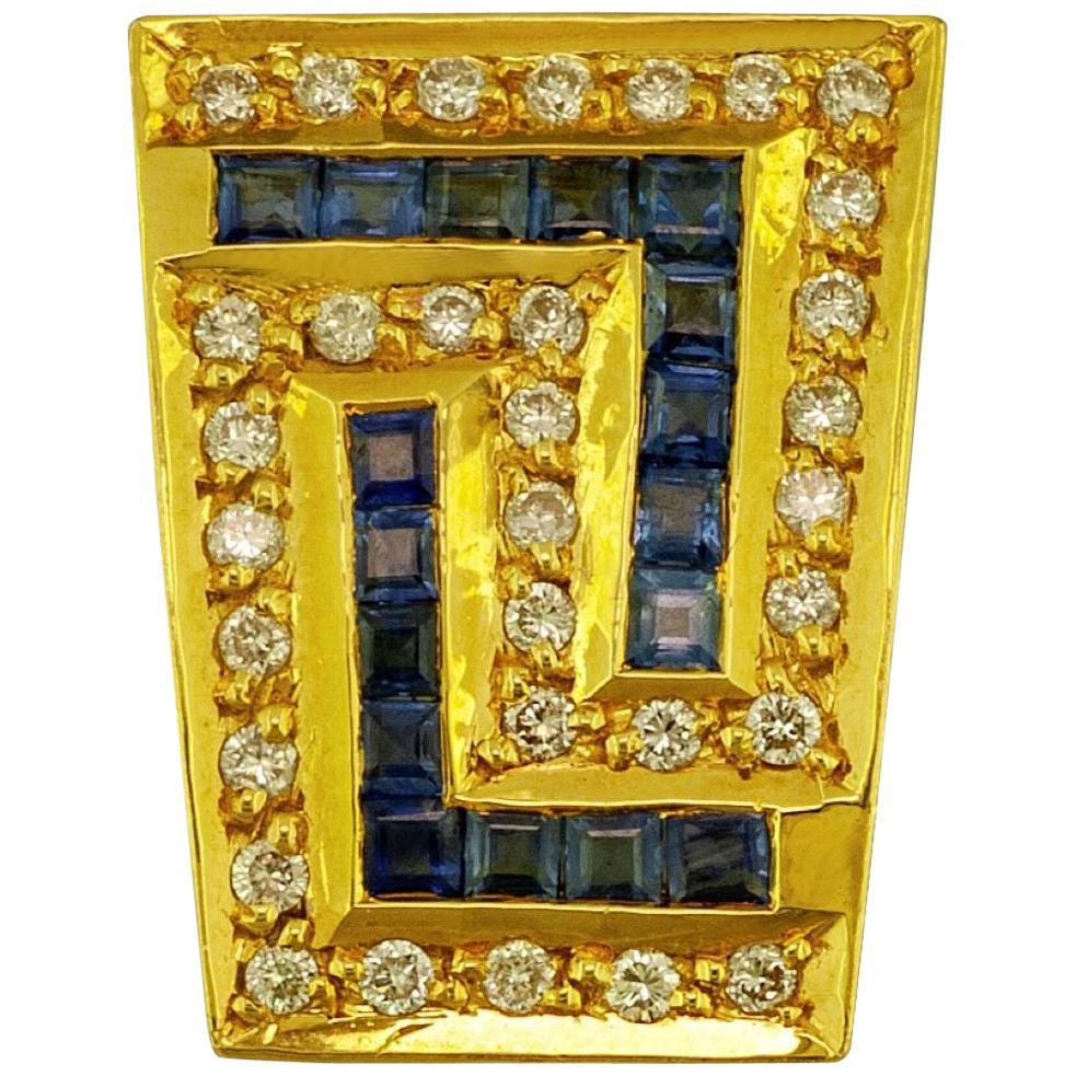 Georgios Collections 18 Karat Yellow Gold Sapphire and Diamond Greek Key Pendant