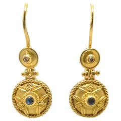 Georgios Collections 18 Karat Yellow Gold Sapphire Byzantine Drop Earrings