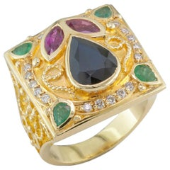 Georgios Collections 18 Karat Yellow Gold Sapphire Ring with Emeralds and Rubies
