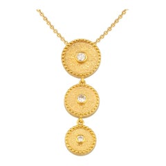 Georgios Collections 18 Karat Yellow Gold Small Diamond Drop Pendant and Chain