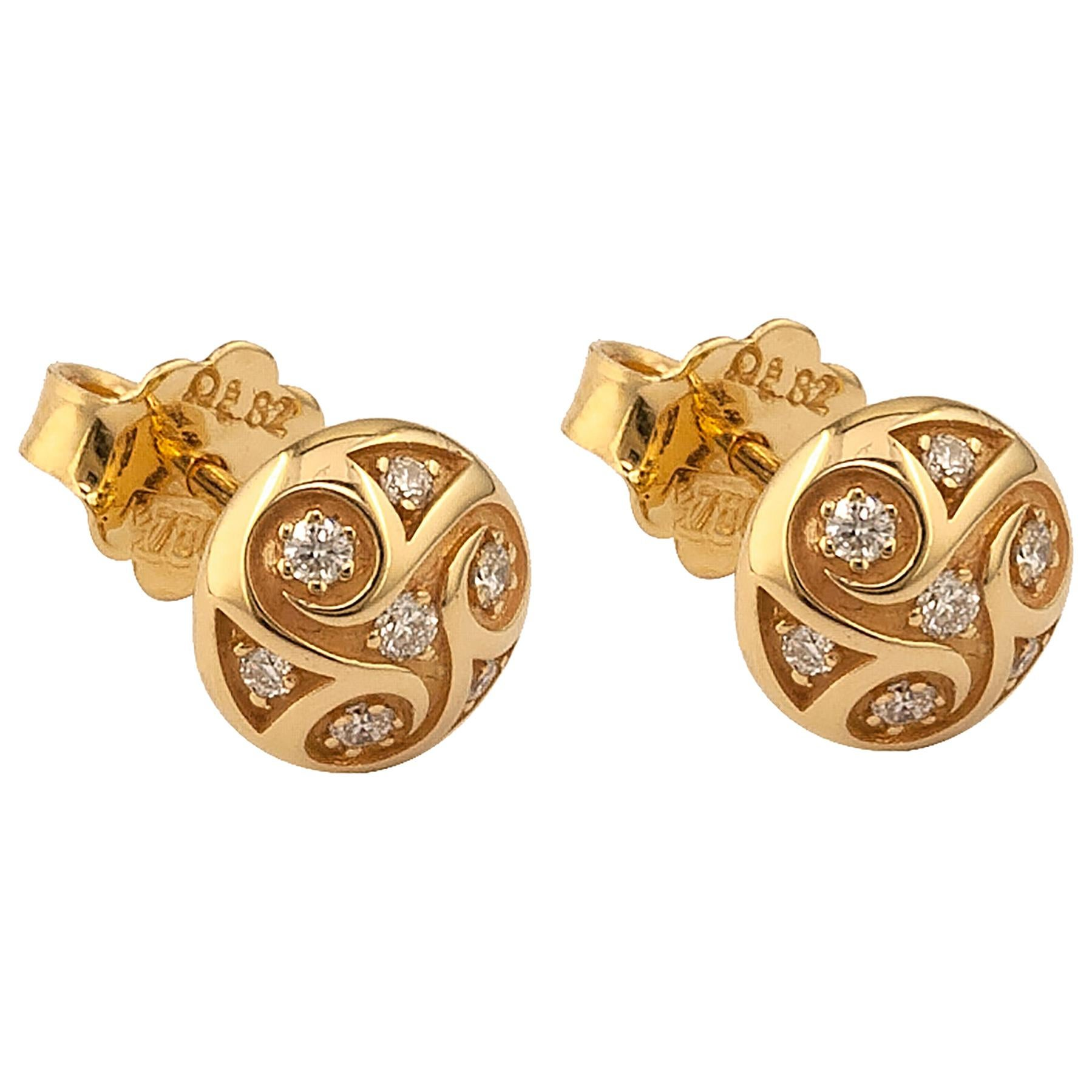 Georgios Collections 18 Karat Yellow Gold Solitaire Diamond Round Stud Earrings