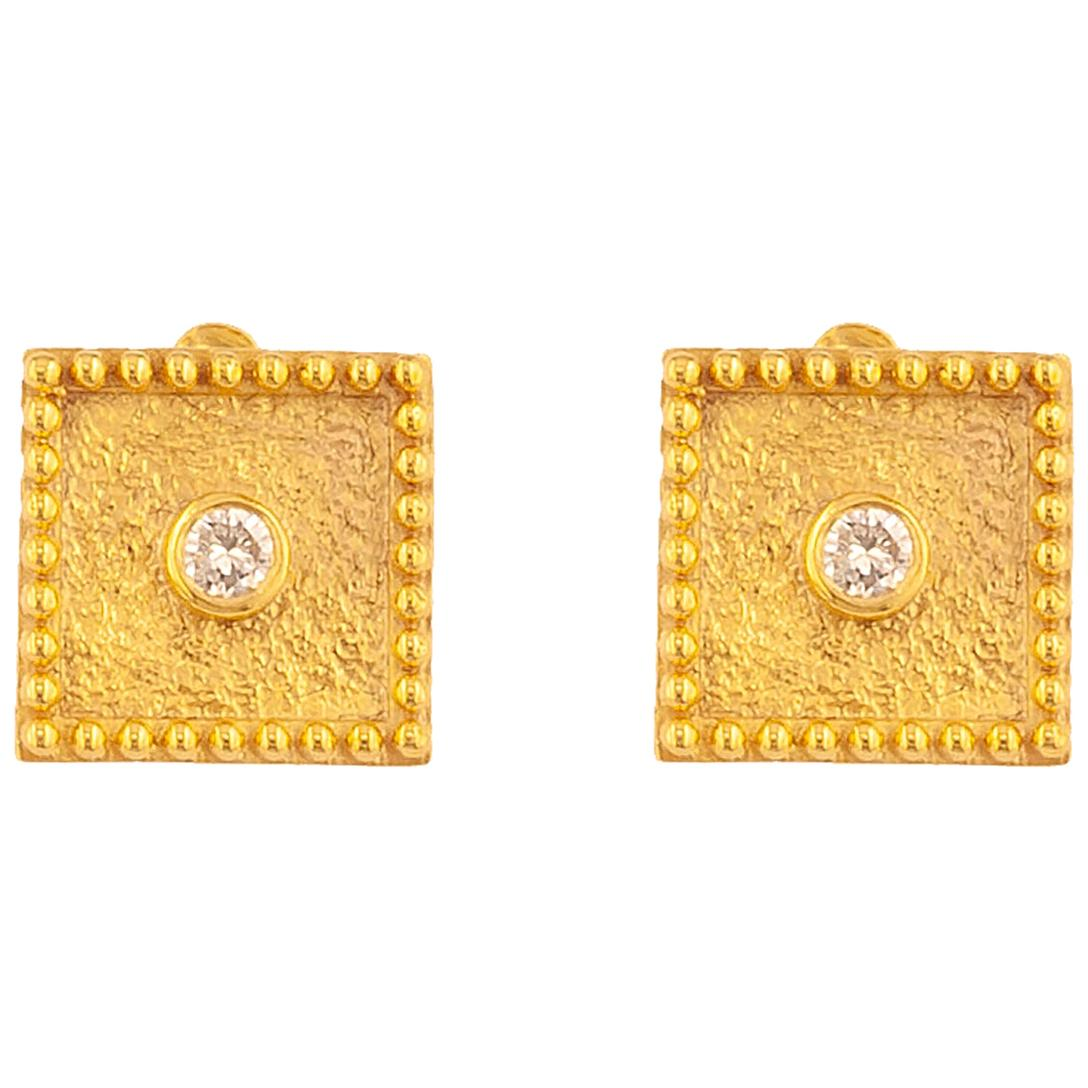 Georgios Collections 18 Karat Yellow Gold Solitaire Diamond Square Stud Earrings