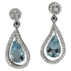 Georgios Collections 18 Karat White Gold Dangle Aquamarine And Diamond Earrings