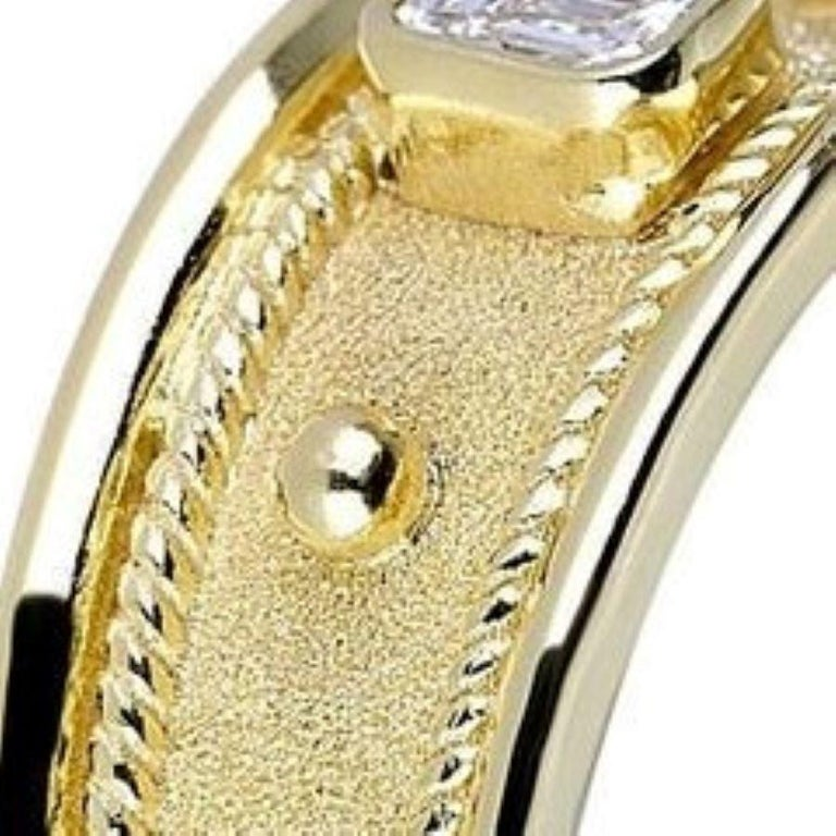 Georgios Collections 18 Karat Yellow Gold Solitaire Emerald Cut Diamond Ring For Sale 1