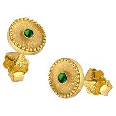 Georgios Collections 18 Karat Yellow Gold Solitaire Emerald Stud Earrings