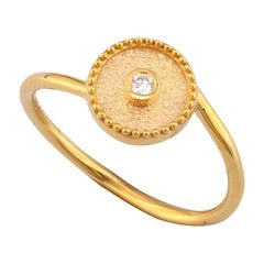 Georgios Collections 18 Karat Yellow Gold Solitaire Round Diamond Thin Band Ring