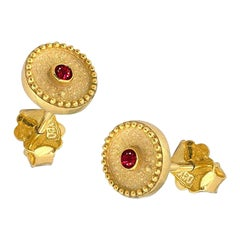 Georgios Collections 18 Karat Yellow Gold Solitaire Ruby Stud Earrings