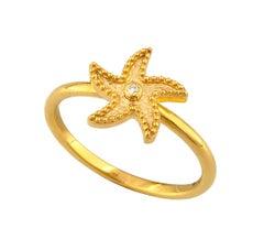 Georgios Collections 18 Karat Yellow Gold Starfish Diamond Thin Band Ring