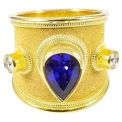 Georgios Collections 18 Karat Yellow Gold Tanzanite and Diamond Wide Band Ring