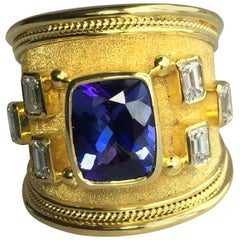Georgios Collections 18 Karat Yellow Gold Tanzanite Cushion Cut and Diamond Ring