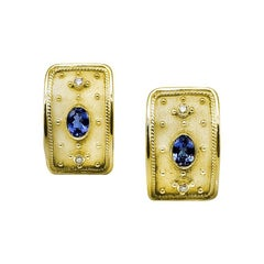 Georgios Collections 18 Karat Yellow Gold Tanzanite Diamond Earrings