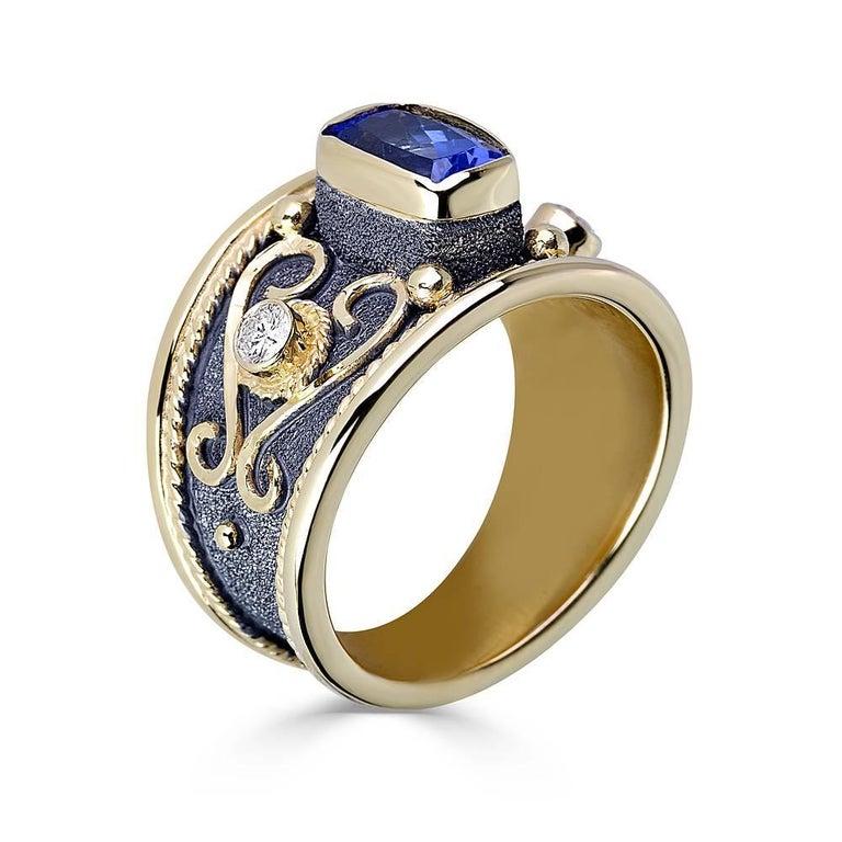 Byzantine Georgios Collections 18 Karat Yellow Gold Tanzanite Diamond Black Rhodium Ring For Sale