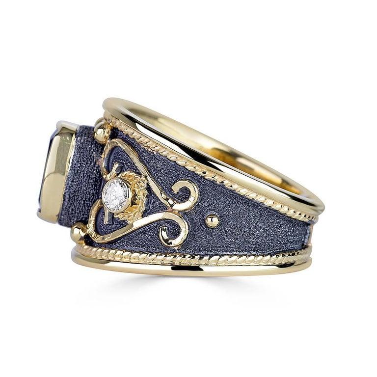 Cushion Cut Georgios Collections 18 Karat Yellow Gold Tanzanite Diamond Black Rhodium Ring For Sale
