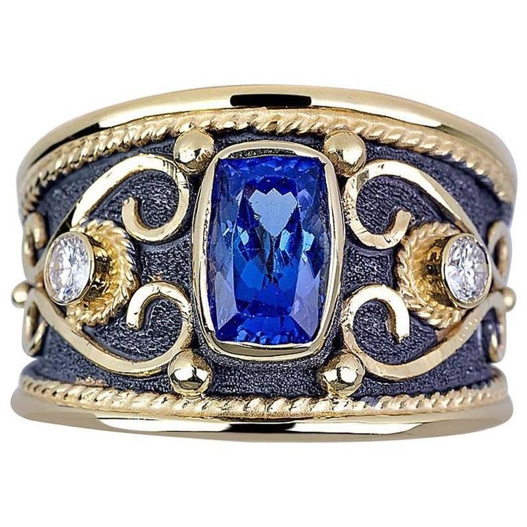 Georgios Collections 18 Karat Yellow Gold Tanzanite Diamond Black Rhodium Ring For Sale