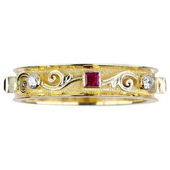 Georgios Collections 18 Karat Yellow Gold Thin Diamond and Ruby Multi Band Ring