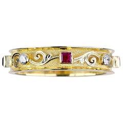 Georgios Collections 18 Karat Yellow Gold Thin Diamond Ruby Handmade Band Ring