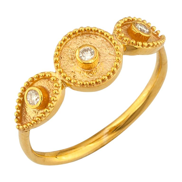 Georgios Collections 18 Karat Yellow Gold Three Diamond Thin Band Ring