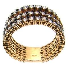 Georgios Collections 18 Karat Yellow Gold Three-Row Brown Diamond Band Ring