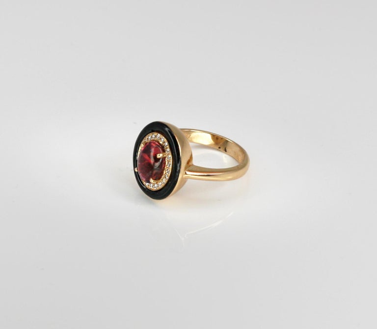 Georgios Collections 18 Karat Rose Gold Tourmaline and Enamel Diamond Ring For Sale 5
