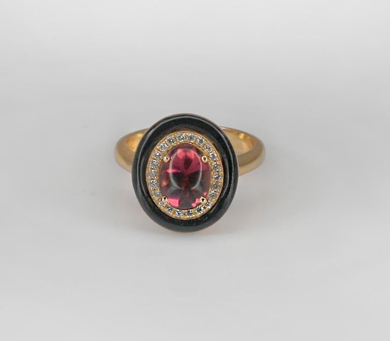 Georgios Collections 18 Karat Rose Gold Tourmaline and Enamel Diamond Ring For Sale 7