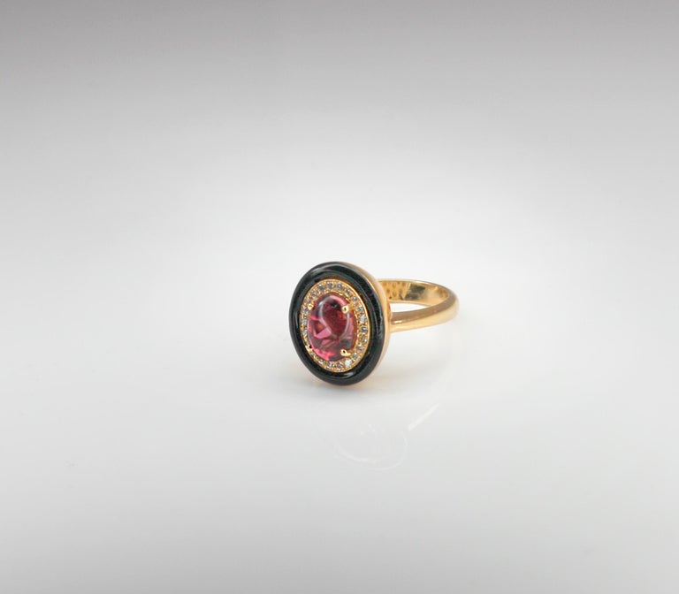 Contemporary Georgios Collections 18 Karat Rose Gold Tourmaline and Enamel Diamond Ring For Sale