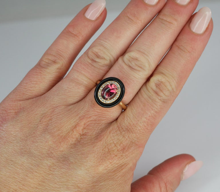 Cabochon Georgios Collections 18 Karat Rose Gold Tourmaline and Enamel Diamond Ring For Sale