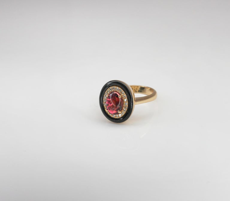 Georgios Collections 18 Karat Rose Gold Tourmaline and Enamel Diamond Ring In New Condition For Sale In Astoria, NY