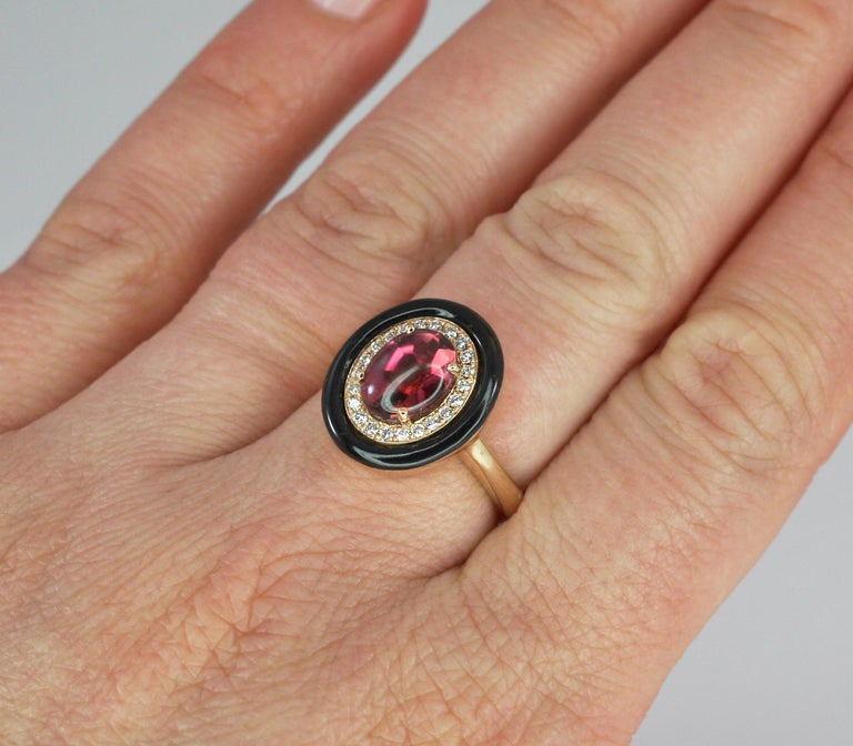 Georgios Collections 18 Karat Rose Gold Tourmaline and Enamel Diamond Ring For Sale 3