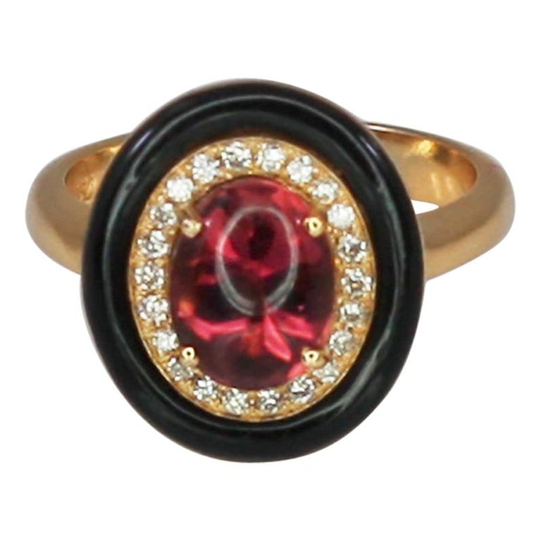 Georgios Collections 18 Karat Rose Gold Tourmaline and Enamel Diamond Ring For Sale