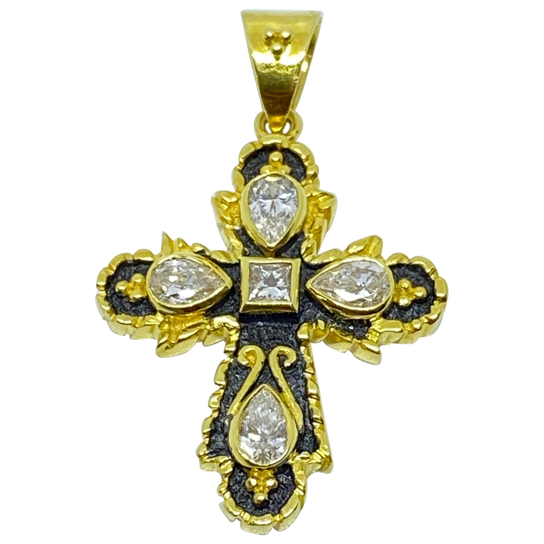 Georgios Collections 18 Karat Yellow Gold Two-Tone Black Rhodium Diamond Cross
