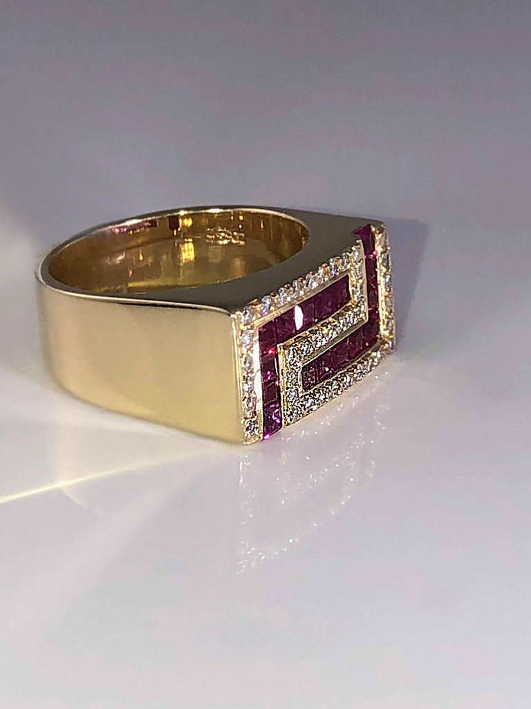Classical Greek Georgios Collections 18 Karat Yellow Gold Unisex Diamond Blood Red Ruby Ring For Sale