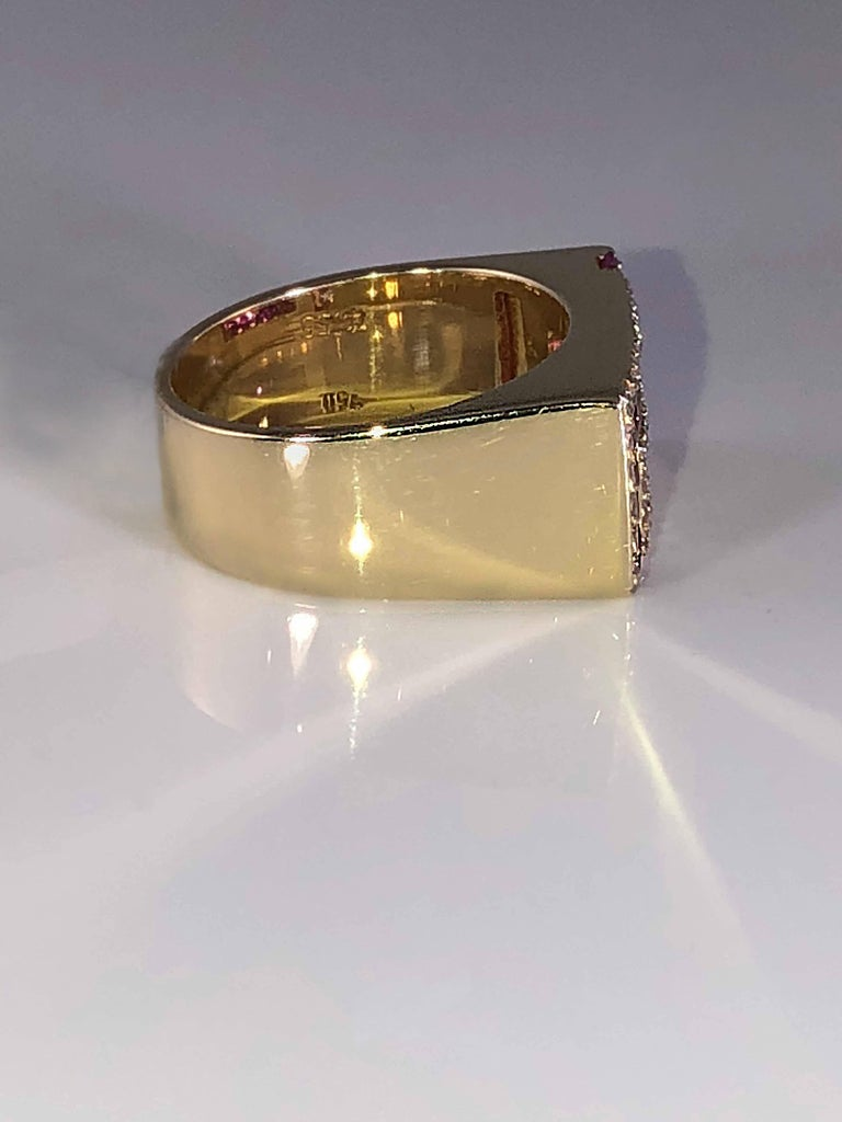 Women's or Men's Georgios Collections 18 Karat Yellow Gold Unisex Diamond Blood Red Ruby Ring For Sale